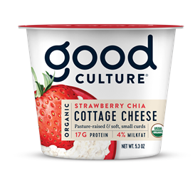 Organic Cottage Cheese Strawberry Chia 4%, 5.3 oz